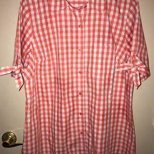 Woman's orange and white checkered  blouse